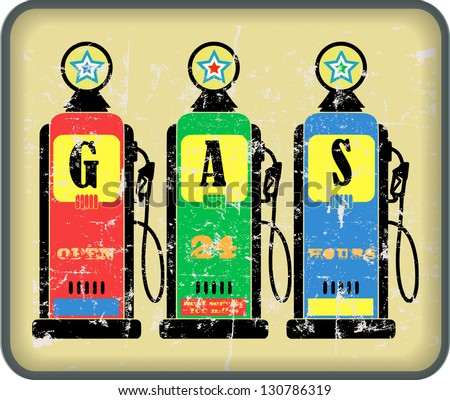 vintage gas o. gas station sign, vector - stock vector