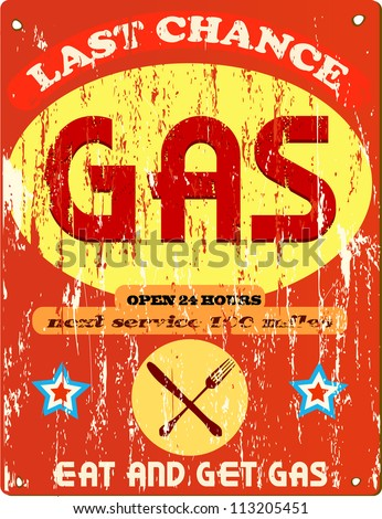 Vintage gas station and diner sign, vector illustration - stock vector