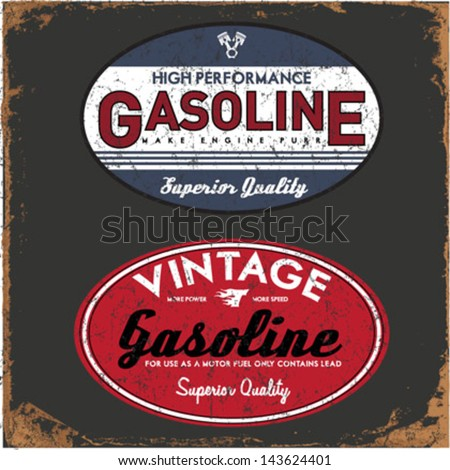 Vintage Gasoline & Motor oil - stock vector