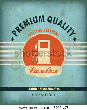 Vintage Gasoline motor oil poster design - stock vector