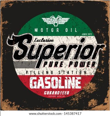 Vintage gasoline motor oil tshirt printing stock vector for Vintage t shirt printing