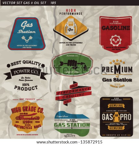 Vintage Gasoline & Motor oil vector collection.gas vector label set - stock vector