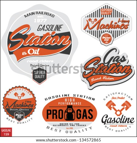 Vintage gasoline retro signs and labels.Gas station. - stock vector