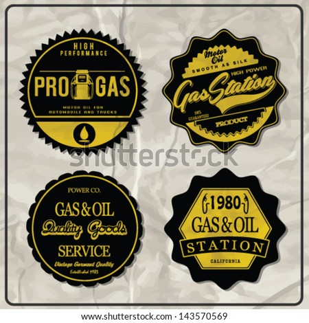 Vintage gasoline retro signs and labels. Gas station.custom car label series.custom service vector series - stock vector