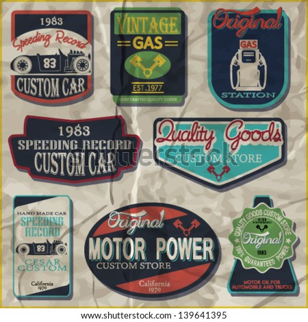 Vintage gasoline retro signs and labels. Gas station.Custom garage vector set. hot-rod car - stock vector