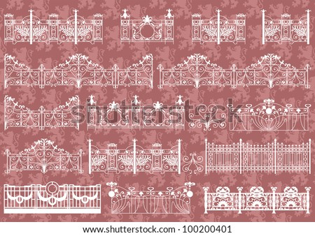 Vintage gate and street fence detailed illustration collection background vector - stock vector