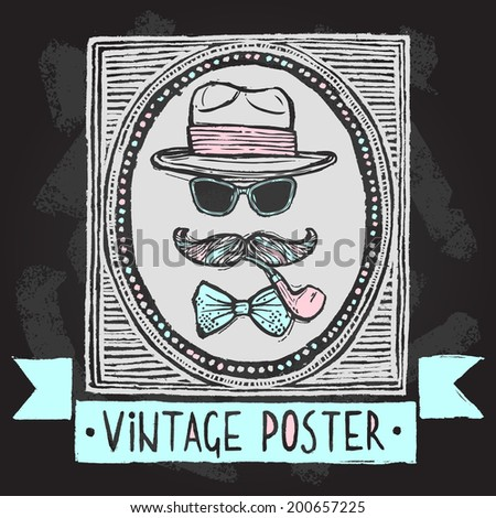 Vintage gentleman disguise set of hat sunglasses mustaches and tobacco pipe poster vector illustration - stock vector
