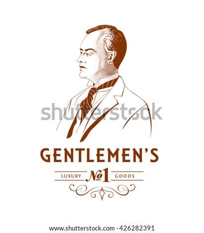 Vintage Gentleman Logo - stock vector