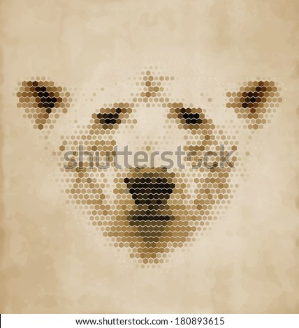 Vintage Geometric Polar Bear Design - stock vector