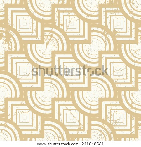 Vintage geometric seamless background, old vector repeat pattern with aged grunge dirty texture.