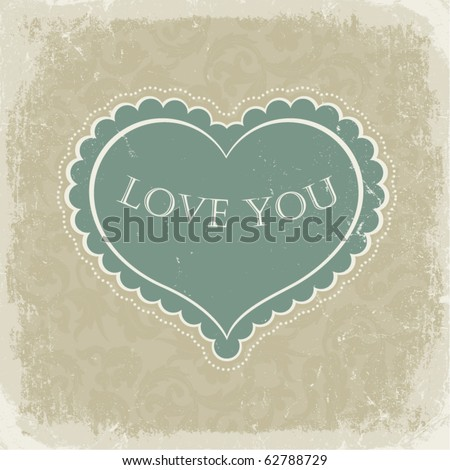 Vintage gift card with heart shaped space for text in a  in beige gamut - stock vector