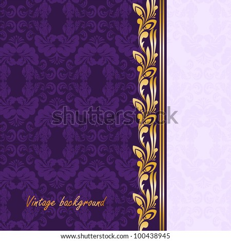 vintage gilded ornament on a purple background - stock vector