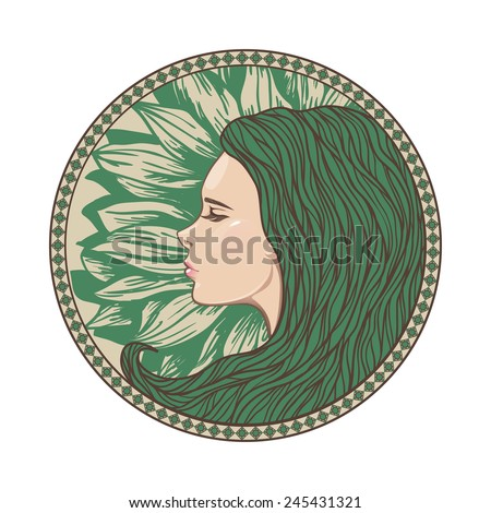 Vintage Girl Portrait in Ornate Circle Frame. Vector Illustration. Art Nouveau Style. Hand Drawn Hairstyle. Beautiful Mermaid Face. - stock vector