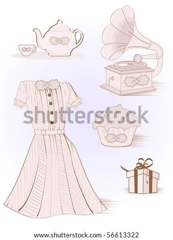 vintage girl set - stock vector