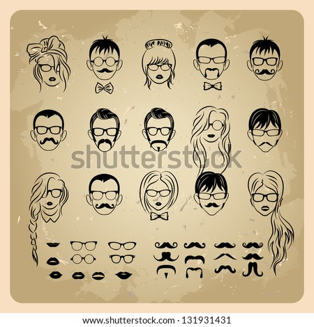 vintage girls faces with hair, sunglasses and shape of the lips.mans Faces with Mustaches, sunglasses,eyeglass es and a bow tie - stock vector
