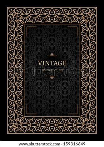 Vintage gold background, book cover, vector ornamental frame template - stock vector