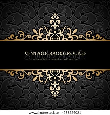 Vintage gold background, divider, header, ornamental vector frame - stock vector