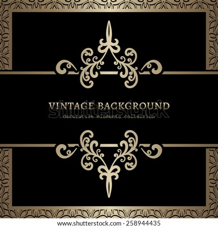 Vintage gold background, divider, header, ornamental vector frame - stock vector