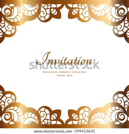 Engagement invitation stock images royalty free images vectors vintage gold background elegant golden frame vector greeting card or invitation design stopboris Choice Image