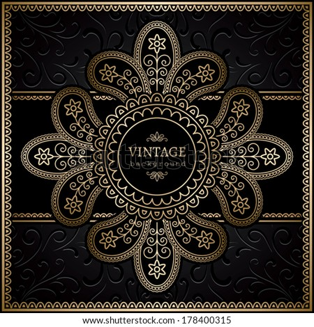 Vintage gold background, label, ornamental vector frame - stock vector