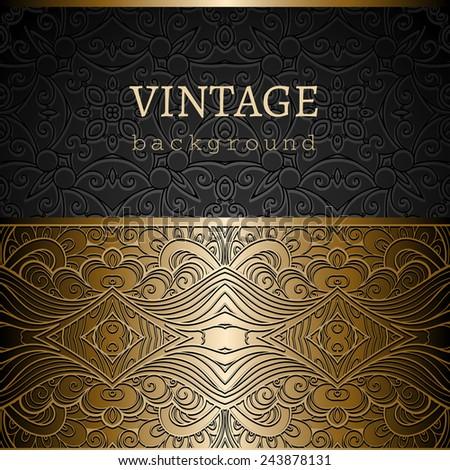 Vintage gold background, ornamental vector frame with seamless golden border over pattern - stock vector