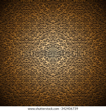 Vintage gold background, swirly ornament, vector seamless pattern - stock vector