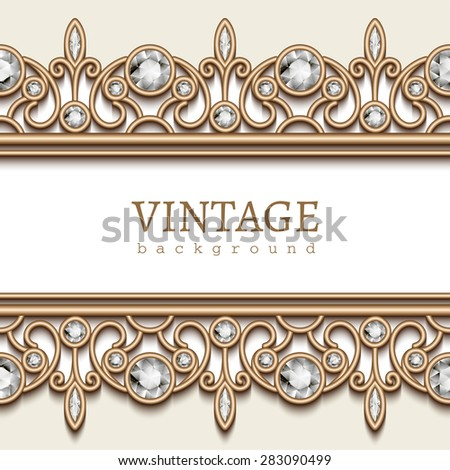 Vintage gold background, vector jewelry frame with seamless borders on white, eps10 - stock vector