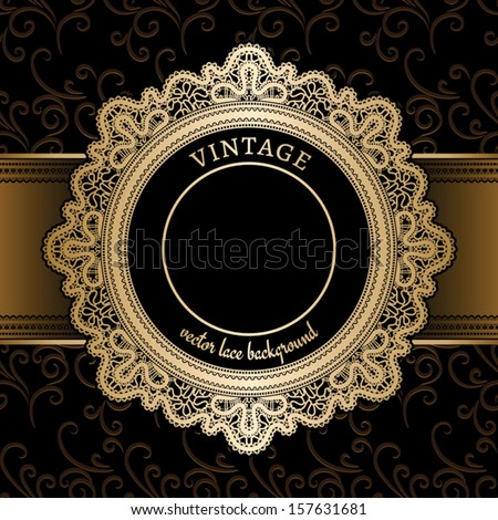 Vintage gold background, vector lace round frame template  - stock vector