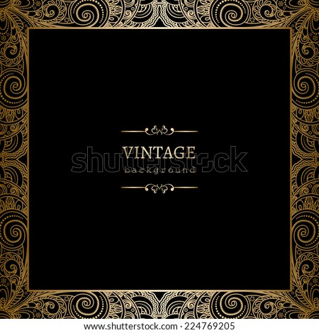 Vintage gold background, vector square ornamental frame on black - stock vector