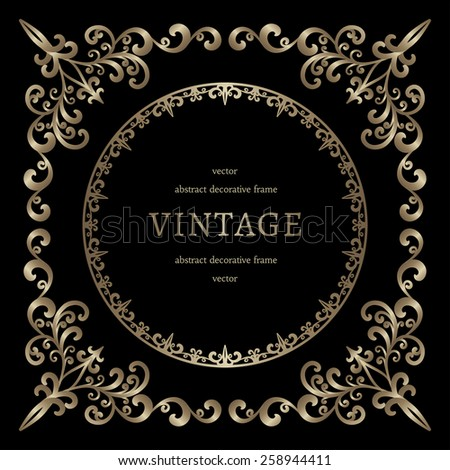 Vintage gold background, vignette, square frame template on black, vector illustration - stock vector