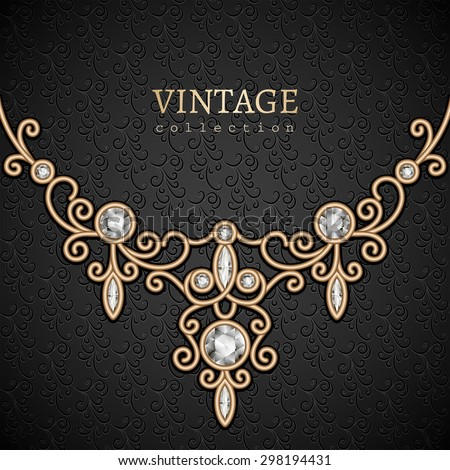 Vintage gold background with jewelry diamond necklace, elegant vector jewellery decoration, eps10 - stock vector
