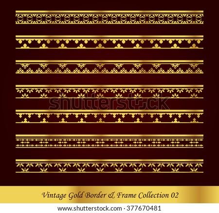 Vintage Gold Border Frame Vector Collection 02 - stock vector