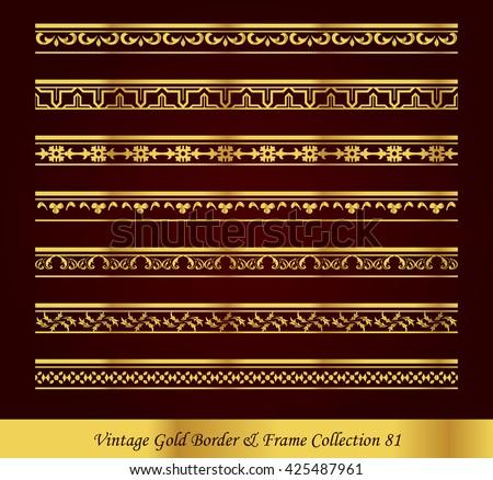 Vintage Gold Border Frame Vector Collection 81 - stock vector