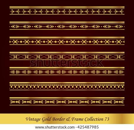 Vintage Gold Border Frame Vector Collection 73 - stock vector