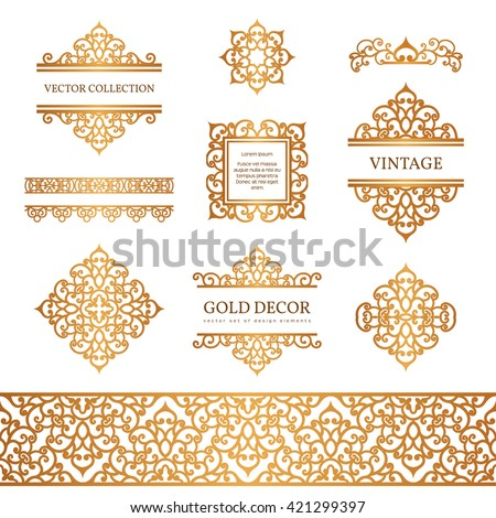 Vintage Gold Borders Frames Set Decorative Stock Vector 421299397 ...
