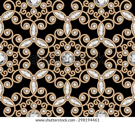 Vintage gold diamond ornament, vector jewelry seamless pattern, elegant jewellery texture, eps10 - stock vector