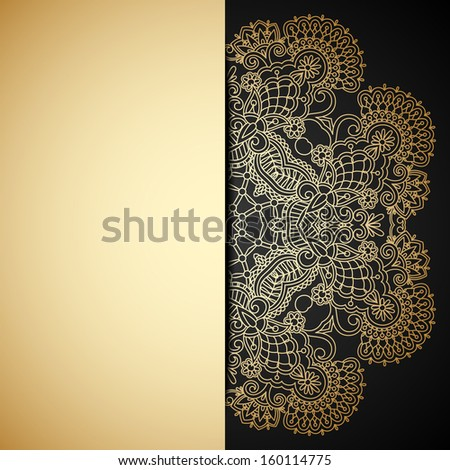 Vintage gold floral ornament with place for text. - stock vector
