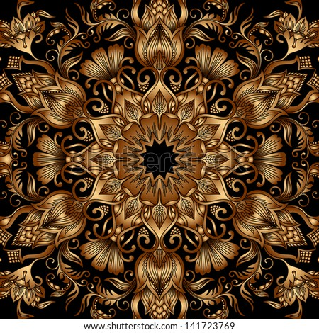 Vintage gold floral ornament  (you can use this pattern for carpet, shawl, pillow, cushion). - stock vector