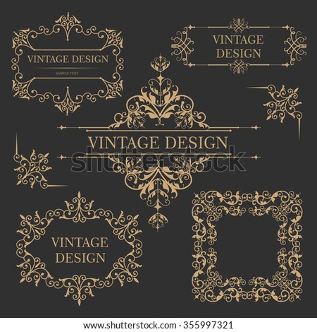 Vintage gold frame. Antique decorative elements. Vector illustration - stock vector