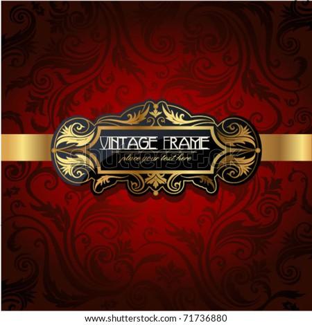 Vintage gold frame on red floral background. Vector illustration. - stock vector