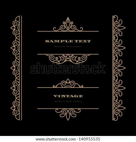Vintage gold frames and borders, set of vector design elements - stock vector