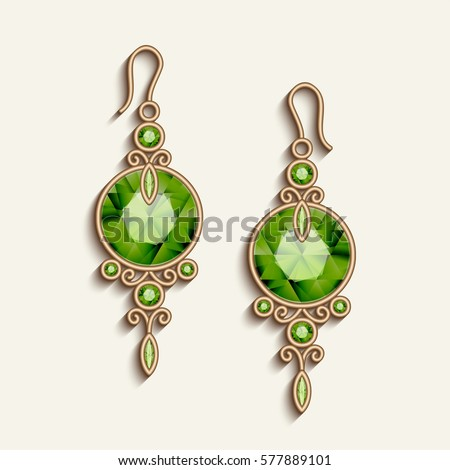 Vintage Gold Jewelry Earrings Green Gemstones Stock Vector