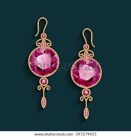 Vintage gold jewelry earrings with ruby gemstones, jewellery pendants, filigree vector female decoration, eps10 - stock vector