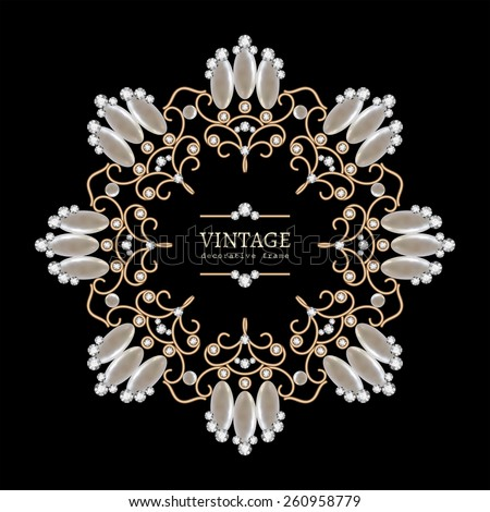 Vintage gold jewelry necklace, round vector frame, jewellery vignette with diamonds and pearls on black, eps10 - stock vector