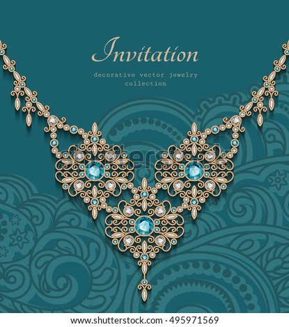 Vintage gold jewelry necklace with diamonds and emerald gemstones, antique jewellery women's decoration, elegant greeting card or invitation template, vector eps10
