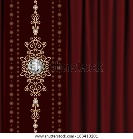 Vintage gold jewelry on red drapery background, vector eps10
