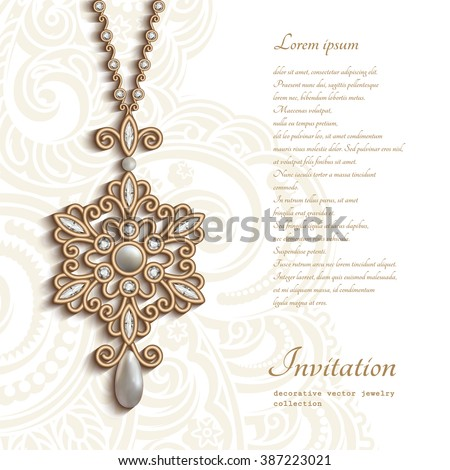 Vintage gold jewelry pendant with diamonds and pearls, round jewellery locket with ornament in shape of snowflake, vector decoration, elegant greeting card or invitation template, eps10 - stock vector
