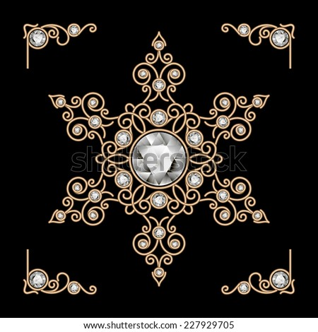 Vintage gold jewelry snowflake decoration on black, vector eps10