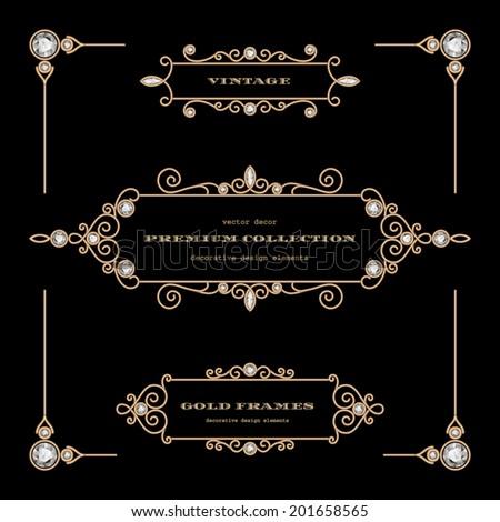 Vintage gold jewelry vector frames, set of filigree vignettes, labels, chapter dividers on black, eps10 - stock vector