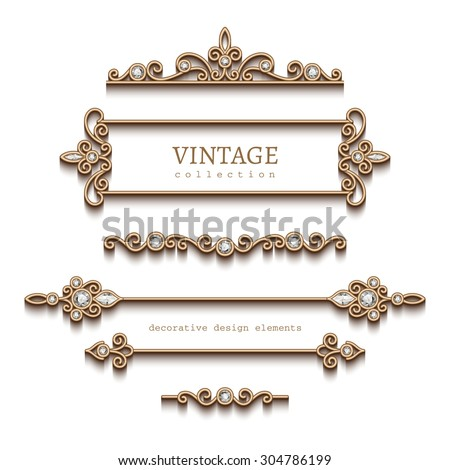 Vintage gold jewelry vignettes and dividers, vector set of decorative jewellery design elements on white background, eps10 - stock vector